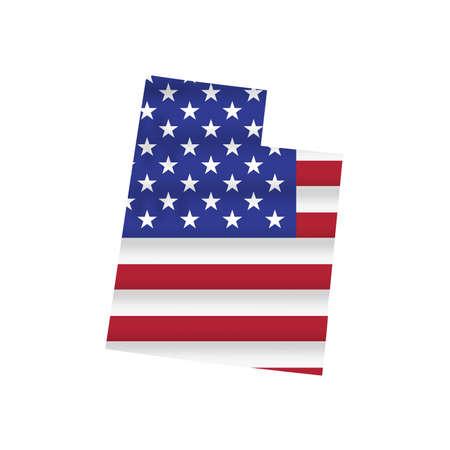Utah US state flag map isolated on white. Vector illustration.