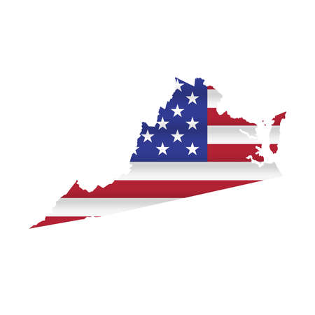 Virginia US state flag map isolated on white. Vector illustration.