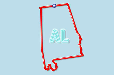 Alabama US state bold outline map. Glossy red border with soft shadow. Two letter state abbreviation. Vector illustration. 向量圖像