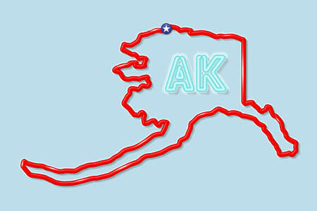 Alaska US state bold outline map. Glossy red border with soft shadow. Two letter state abbreviation. Vector illustration. 向量圖像