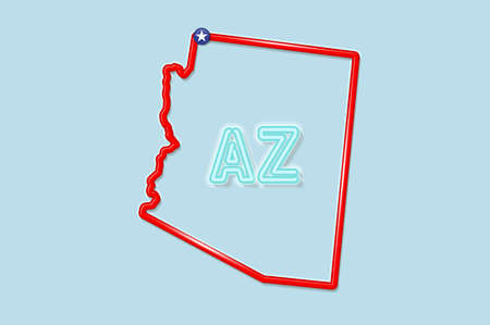 Arizona US state bold outline map. Glossy red border with soft shadow. Two letter state abbreviation. Vector illustration.