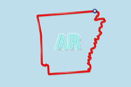 Arkansas US state bold outline map. Glossy red border with soft shadow. Two letter state abbreviation. Vector illustration. 向量圖像