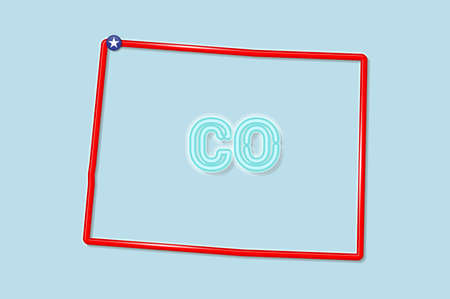 Colorado US state bold outline map. Glossy red border with soft shadow. Two letter state abbreviation. Vector illustration. 向量圖像