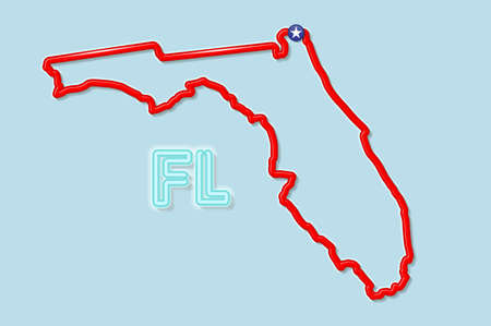 Florida US state bold outline map. Glossy red border with soft shadow. Two letter state abbreviation. Vector illustration.