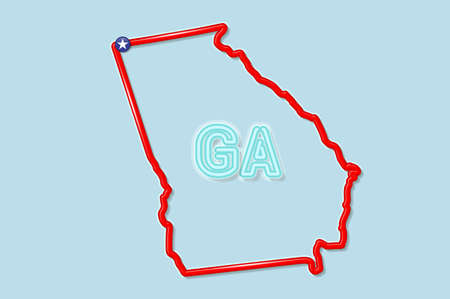 Georgia US state bold outline map. Glossy red border with soft shadow. Two letter state abbreviation. Vector illustration.