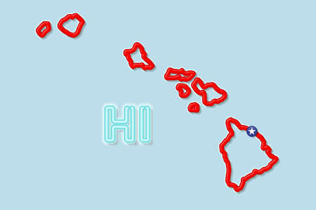 Hawaii US state bold outline map. Glossy red border with soft shadow. Two letter state abbreviation. Vector illustration.