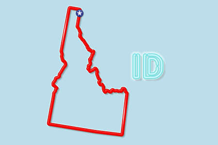 Idaho US state bold outline map. Glossy red border with soft shadow. Two letter state abbreviation. Vector illustration.