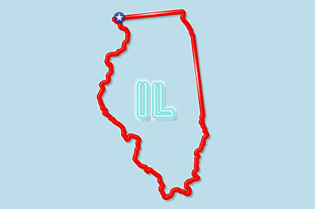 Illinois US state bold outline map. Glossy red border with soft shadow. Two letter state abbreviation. Vector illustration.