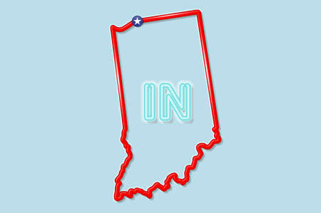 Indiana US state bold outline map. Glossy red border with soft shadow. Two letter state abbreviation. Vector illustration.