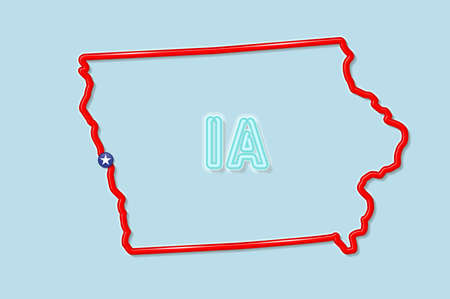 Iowa US state bold outline map. Glossy red border with soft shadow. Two letter state abbreviation. Vector illustration.