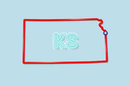 Kansas US state bold outline map. Glossy red border with soft shadow. Two letter state abbreviation. Vector illustration.