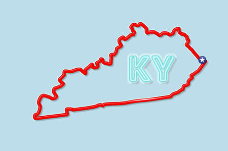 Kentucky US state bold outline map. Glossy red border with soft shadow. Two letter state abbreviation. Vector illustration.