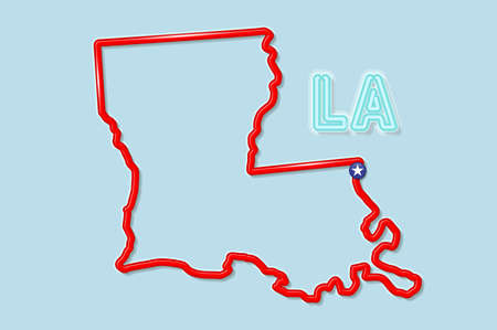 Louisiana US state bold outline map. Glossy red border with soft shadow. Two letter state abbreviation. Vector illustration.