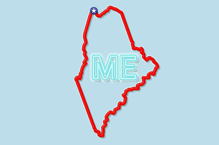 Maine US state bold outline map. Glossy red border with soft shadow. Two letter state abbreviation. Vector illustration.