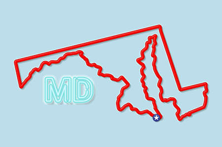 Maryland US state bold outline map. Glossy red border with soft shadow. Two letter state abbreviation. Vector illustration. 向量圖像