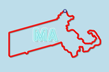 Massachusetts US state bold outline map. Glossy red border with soft shadow. Two letter state abbreviation. Vector illustration.