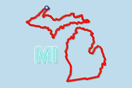 Michigan US state bold outline map. Glossy red border with soft shadow. Two letter state abbreviation. Vector illustration.