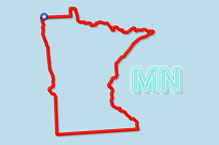 Minnesota US state bold outline map. Glossy red border with soft shadow. Two letter state abbreviation. Vector illustration.