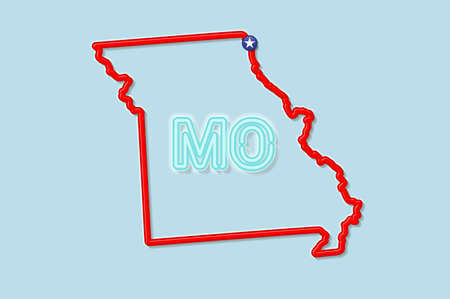 Missouri US state bold outline map. Glossy red border with soft shadow. Two letter state abbreviation. Vector illustration.