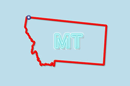 Montana US state bold outline map. Glossy red border with soft shadow. Two letter state abbreviation. Vector illustration.