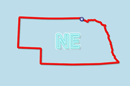 Nebraska US state bold outline map. Glossy red border with soft shadow. Two letter state abbreviation. Vector illustration. 向量圖像