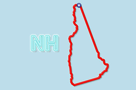 New Hampshire US state bold outline map. Glossy red border with soft shadow. Two letter state abbreviation. Vector illustration.