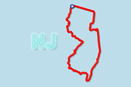 New Jersey US state bold outline map. Glossy red border with soft shadow. Two letter state abbreviation. Vector illustration.