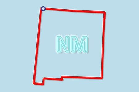 New Mexico US state bold outline map. Glossy red border with soft shadow. Two letter state abbreviation. Vector illustration. 向量圖像