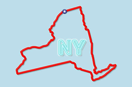 New York US state bold outline map. Glossy red border with soft shadow. Two letter state abbreviation. Vector illustration.