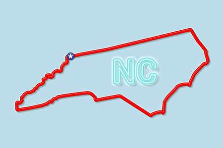 North Carolina US state bold outline map. Glossy red border with soft shadow. Two letter state abbreviation. Vector illustration. 向量圖像