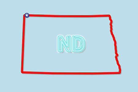 North Dakota US state bold outline map. Glossy red border with soft shadow. Two letter state abbreviation. Vector illustration.