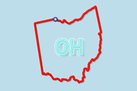Ohio US state bold outline map. Glossy red border with soft shadow. Two letter state abbreviation. Vector illustration. 向量圖像