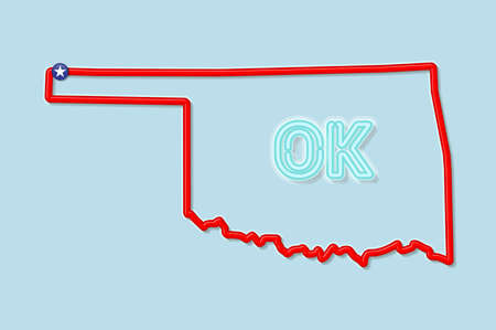 Oklahoma US state bold outline map. Glossy red border with soft shadow. Two letter state abbreviation. Vector illustration.