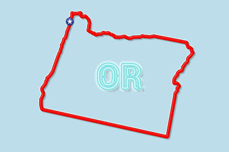 Oregon US state bold outline map. Glossy red border with soft shadow. Two letter state abbreviation. Vector illustration. 向量圖像