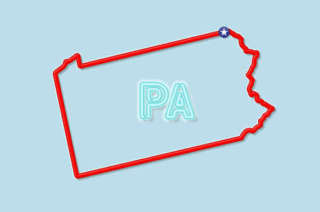 Pennsylvania US state bold outline map. Glossy red border with soft shadow. Two letter state abbreviation. Vector illustration.