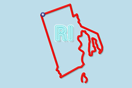 Rhode Island US state bold outline map. Glossy red border with soft shadow. Two letter state abbreviation. Vector illustration.
