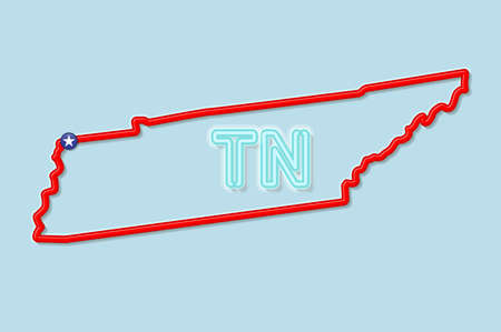 Tennessee US state bold outline map. Glossy red border with soft shadow. Two letter state abbreviation. Vector illustration.