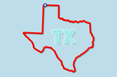 Texas US state bold outline map. Glossy red border with soft shadow. Two letter state abbreviation. Vector illustration. 向量圖像