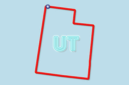 Utah US state bold outline map. Glossy red border with soft shadow. Two letter state abbreviation. Vector illustration. 向量圖像