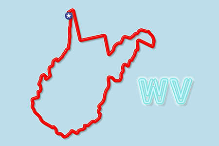 West Virginia US state bold outline map. Glossy red border with soft shadow. Two letter state abbreviation. Vector illustration.