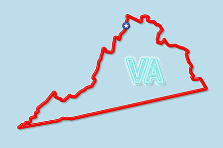 Virginia US state bold outline map. Glossy red border with soft shadow. Two letter state abbreviation. Vector illustration. 向量圖像