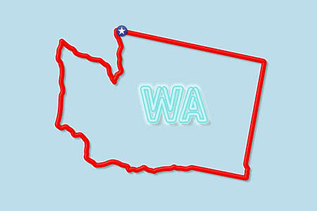 Washington US state bold outline map. Glossy red border with soft shadow. Two letter state abbreviation. Vector illustration.