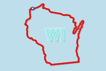 Wisconsin US state bold outline map. Glossy red border with soft shadow. Two letter state abbreviation. Vector illustration.