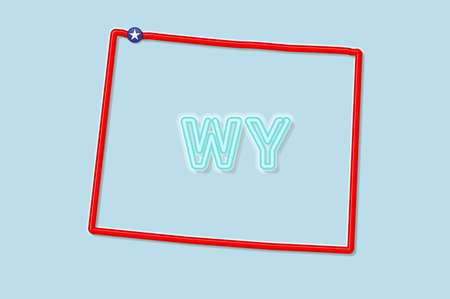 Wyoming US state bold outline map. Glossy red border with soft shadow. Two letter state abbreviation. Vector illustration.