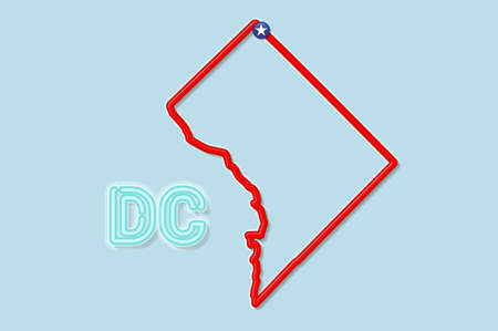 District of Columbia or Washington DC bold outline map. Glossy red border with soft shadow. Two letter abbreviation. Vector illustration.