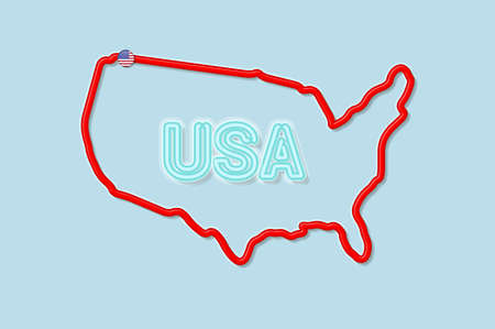 United States of America bold outline map. Glossy red border with soft shadow. USA abbreviation. Vector illustration.