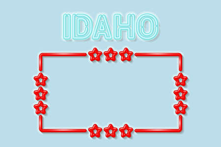 Idaho US state soft blue neon letters lights off. Glossy bold red frame with stars. Soft shadows. Light blue background. Vector illustration.
