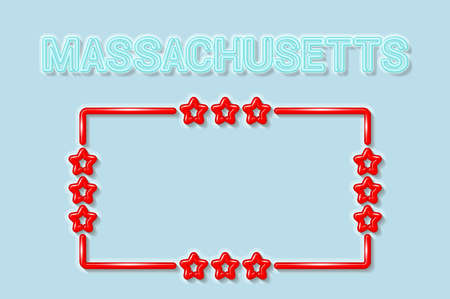Massachusetts US state soft blue neon letters lights off. Glossy bold red frame with stars. Soft shadows. Light blue background. Vector illustration.