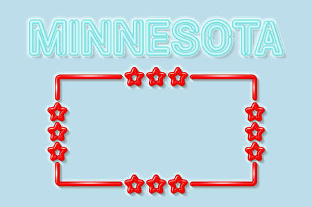 Minnesota US state soft blue neon letters lights off. Glossy bold red frame with stars. Soft shadows. Light blue background. Vector illustration. 向量圖像