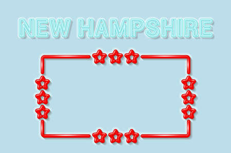New Hampshire US state soft blue neon letters lights off. Glossy bold red frame with stars. Soft shadows. Light blue background. Vector illustration.